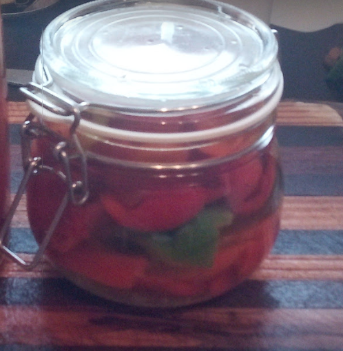 Pot of pickled peppers
